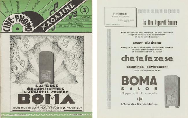 Publicité pour l'appareil sonore BOMA en couverture de Ciné-phono magazine n° 3 (juin 1930) et dans le n° 5 (août 1930)
