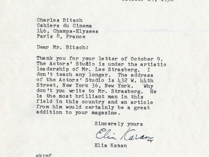 Réponse de Elia Kazan à Charles Bitsch