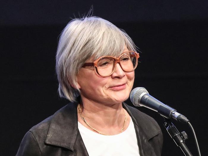Rosalinde Deville, lors de l'inauguration de la rétrospective consacrée à Michel Deville à la Cinémathèque, le 9 mai 2019