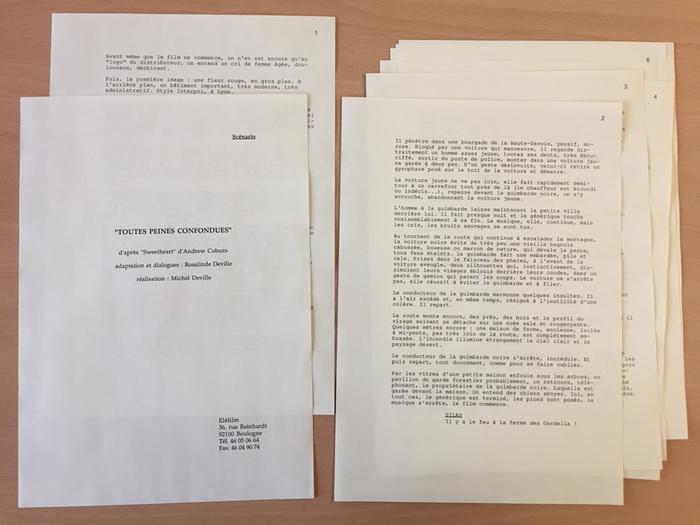 Synopsis de Toutes peines confondues, 1991, adaptation du roman d'Andrew Coburn. Fonds d'archives DEV522B134