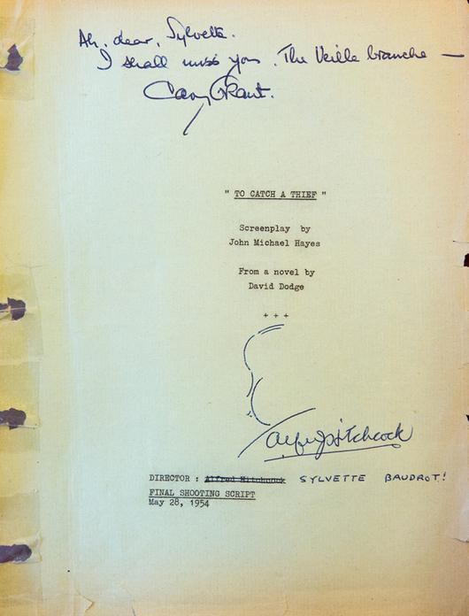Scénario de tournage de Sylvette Baudrot, dédicacé par Cary Grant et Alfred Hitchcock