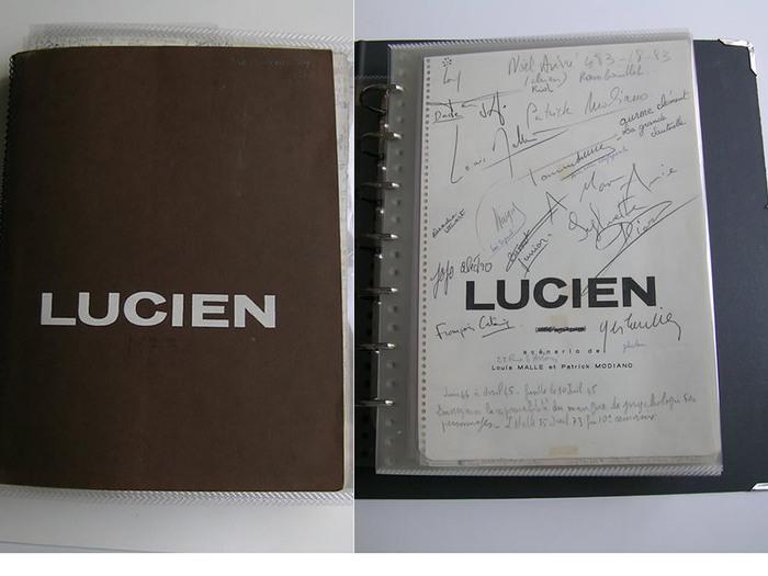 Le script de Lucien avec ses deux cahiers à spirales, et la page de titre avec les signatures de l'équipe du film