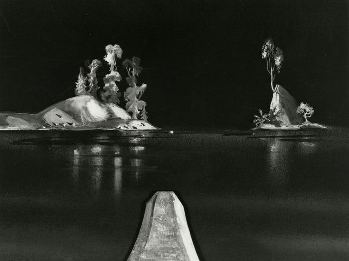 Sur des paysages peints sur fond noir, introduction des éléments narratifs en papiers découpés. C'est l'aviron, dessin d'animation, 1944 © Norman McLaren. Coll. Cinémathèque française
