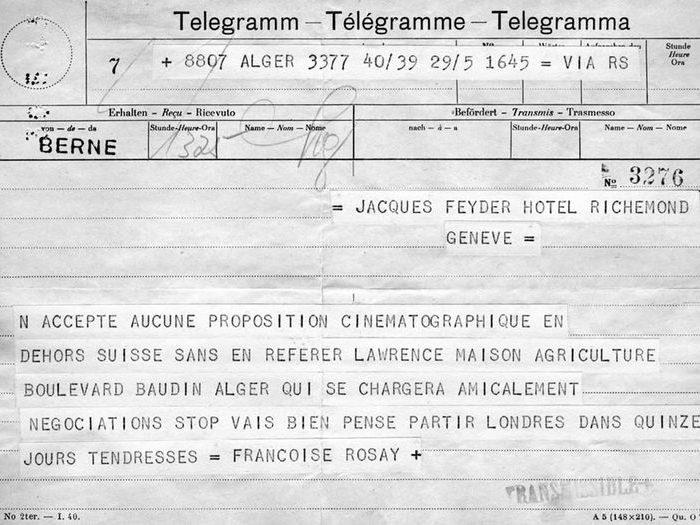 Télégramme de Françoise Rosay à Jacques Feyder