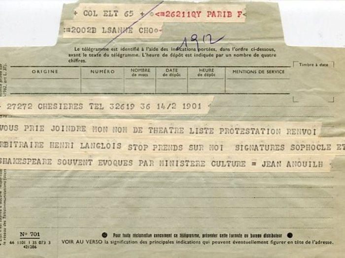Télégramme de soutien expédié par Jean Anouilh