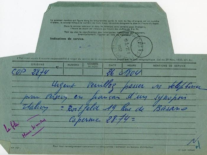 Télégramme, La dame sans camélia, 1953 (PASCAZIO55-B3)