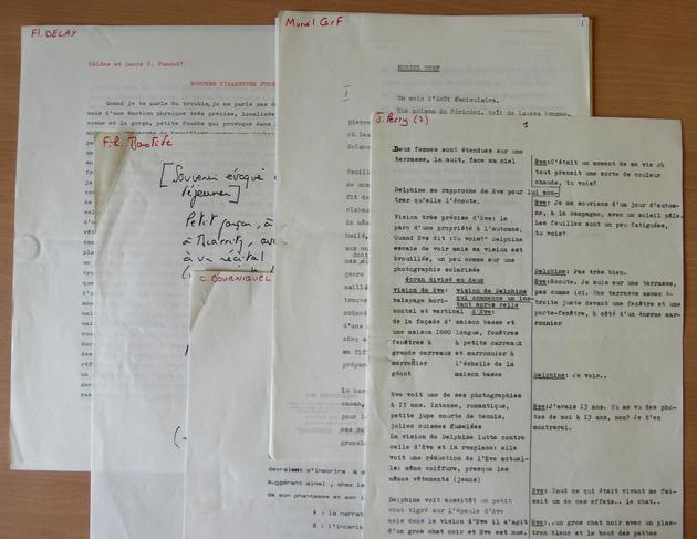 Textes acceptés. Le dossier contient également les textes non utilisés pour Le Voyage en douce. [DEVILLE254 B51]