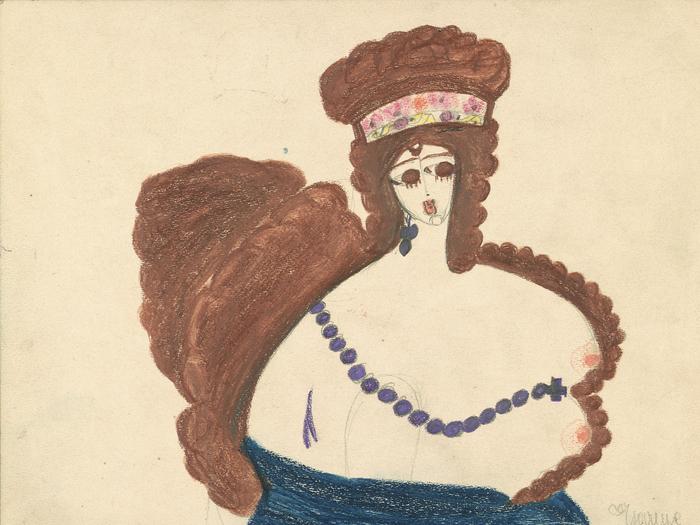 Tsarine, c. 1941, mine de graphite et pastel sur papier (22,5 x 29,7 cm) © Aloïse