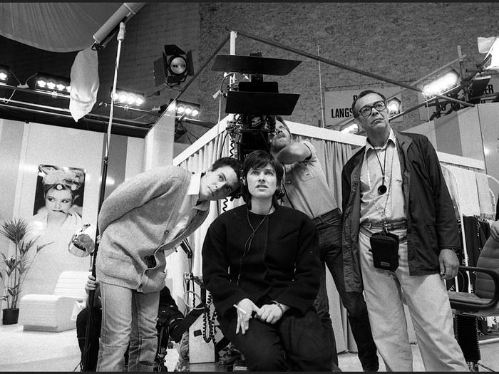 Serge Meynard, Chantal Akerman et Gilberto Azevedo sur le tournage de Golden Eighties (photographie © Jean Ber)