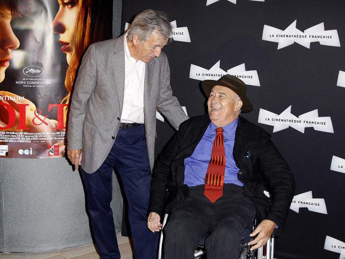 Costa-Gavras et Bernardo Bertolucci, à la Cinémathèque française le 16 septembre 2013, pour l'avant-première de Moi et toi.