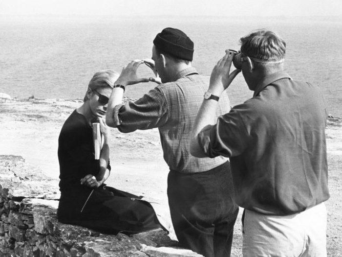 Bibi Andersson, Ingmar Bergman et Sven Nykvist sur le tournage de Persona (Photo Bo Arne Vibenius)