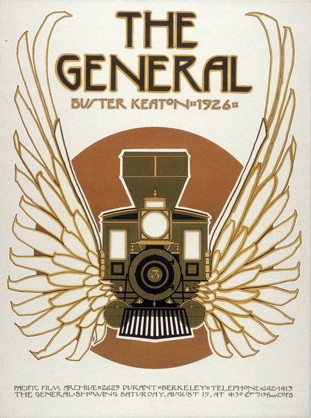 """Affiche de film pour The General (Le Mécano de la """"General"""", Clyde Bruckman, Buster Keaton, 1926) par David Lance Goines"""