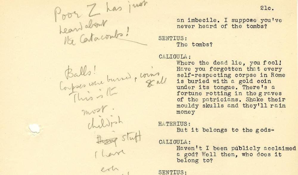 Extrait du scénario de I, Claudius (page 21)