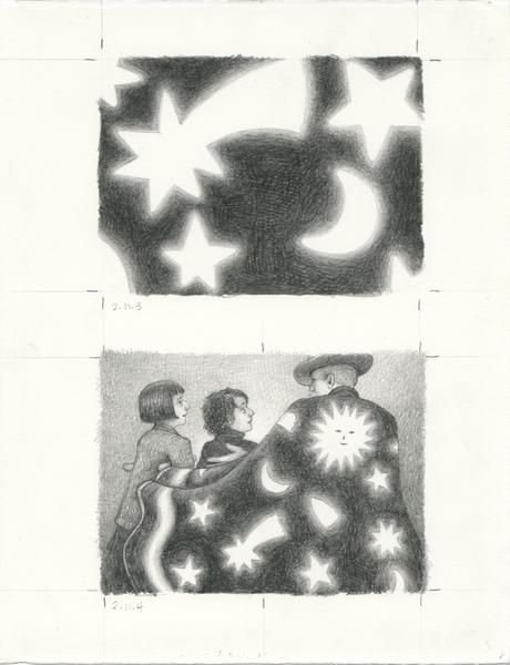 «  Finished art – Méliès in cape » par Brian Selznick pour son roman « L'Invention de Hugo Cabret », 2010