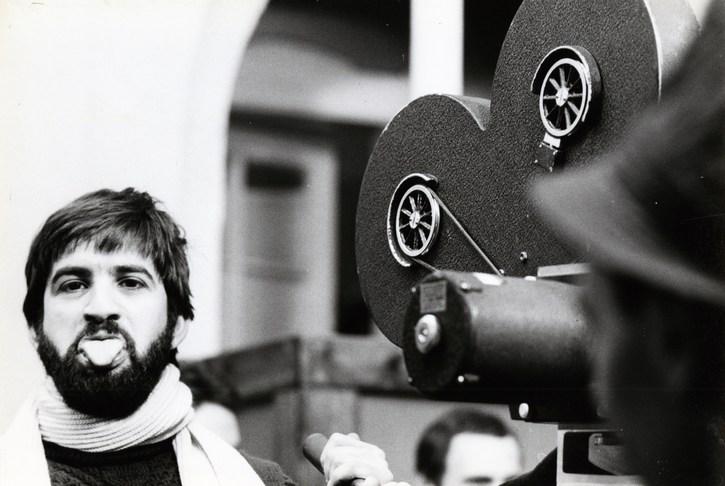 János Kende sur le tournage de Sirokkó (Miklós Jancsó, 1969)