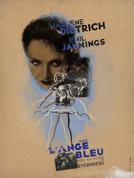 Maquette d'affiche de L'Ange bleu