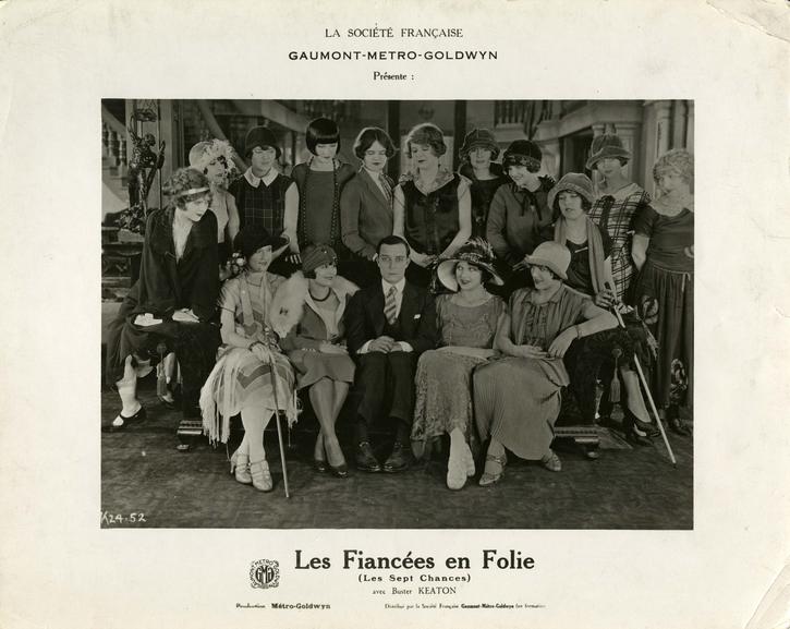Photographie de plateau pour l'exploitation des Fiancées en folie (Seven Chances, 1925) de Buster Keaton