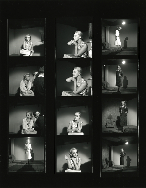 Photographies de tournage - Essais de Jeanne Moreau pour Ascenseur pour l'échafaud