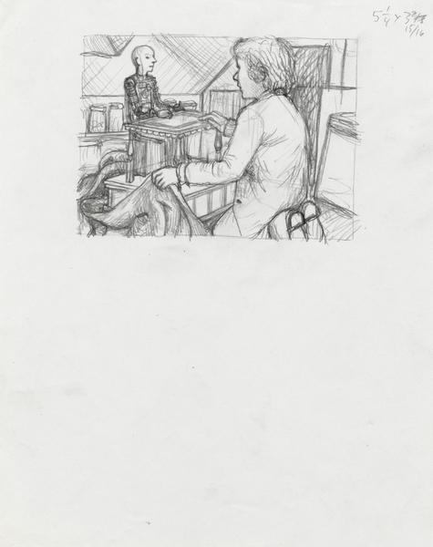 Sketch of Hugo with automaton par Brian Selznick
