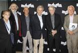 Jean Abeillé, deux acteurs de Jean-Pierre Mocky, Costa-Gavras, Jean-Pierre Mocky et Bruno Blanckaert