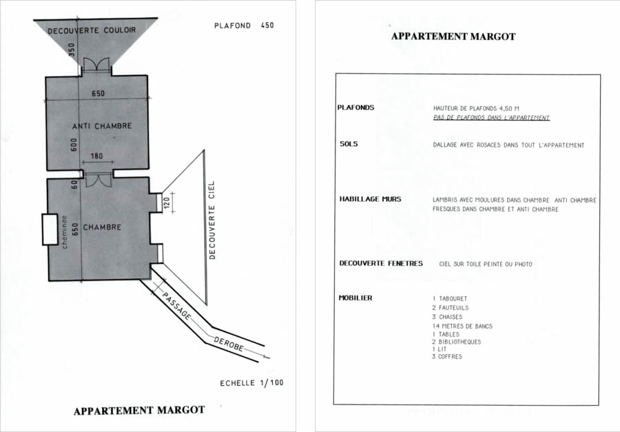 Appartement Margot : plan de construction des décors / Liste du mobilier