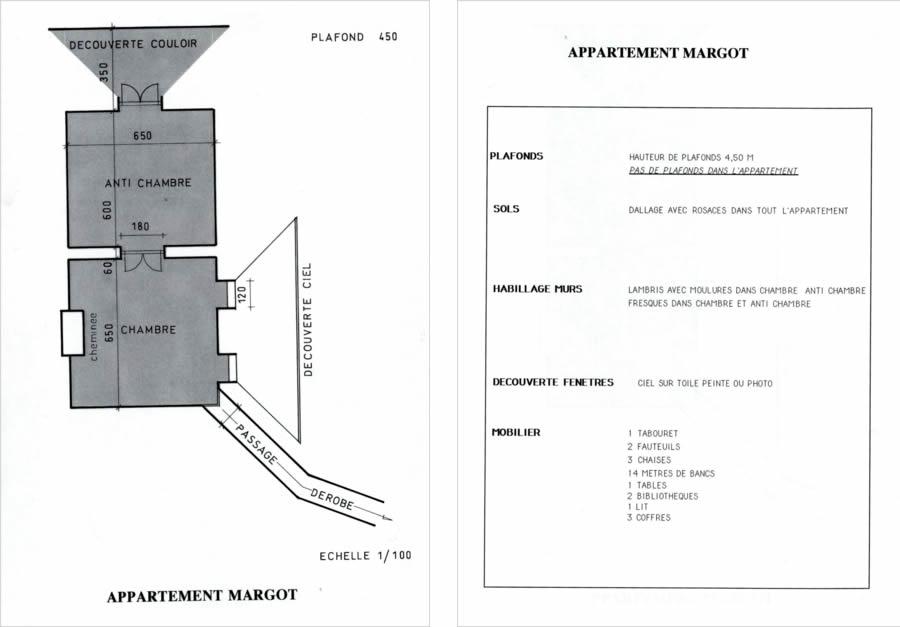 Appartement Margot : plan de construction des décors / Liste du mobilier