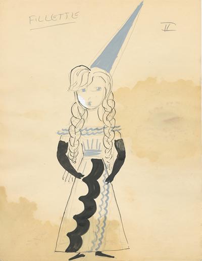 Croquis pour le personnage de la fillette dans la scène des croisades