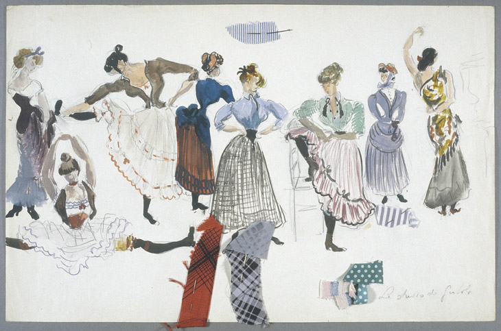 Dessin de costumes de Rosine Delamare pour French Cancan