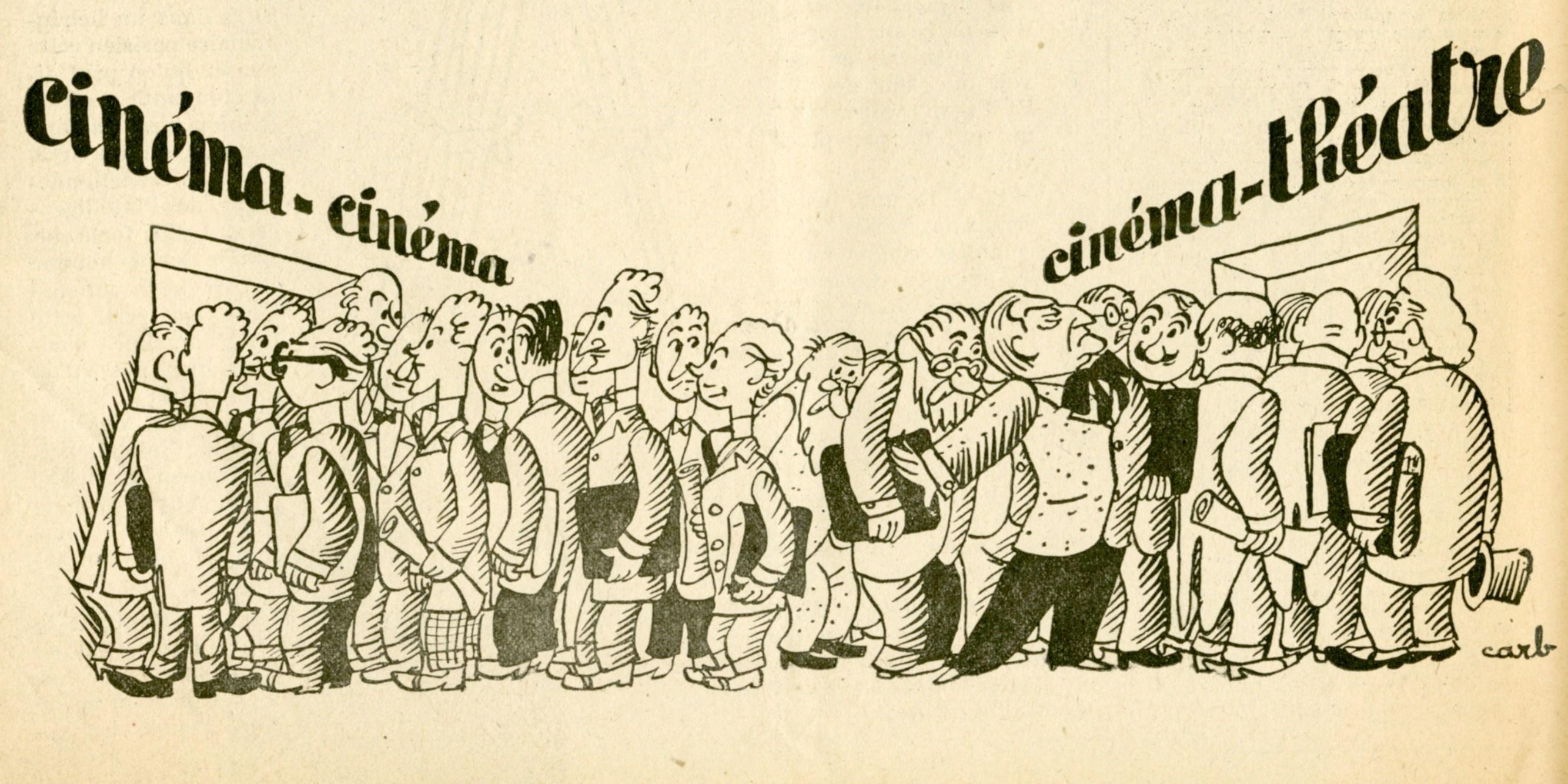 Dessin humoristique de Carb, représentant les partisans du « cinéma-cinéma » opposés au « cinéma-théâtre » : on voit très nettement Sacha Guitry dans le camp du cinéma-théâtre, mais pas Pagnol ! (Les Cahiers du film n°40 de novembre 1942)