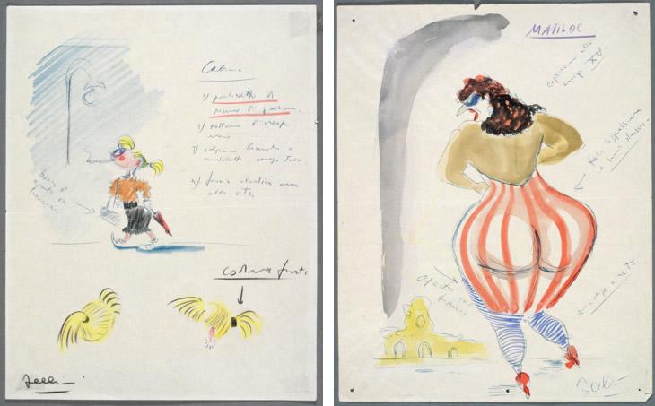 Dessins de Fellini pour Les Nuits de Cabiria