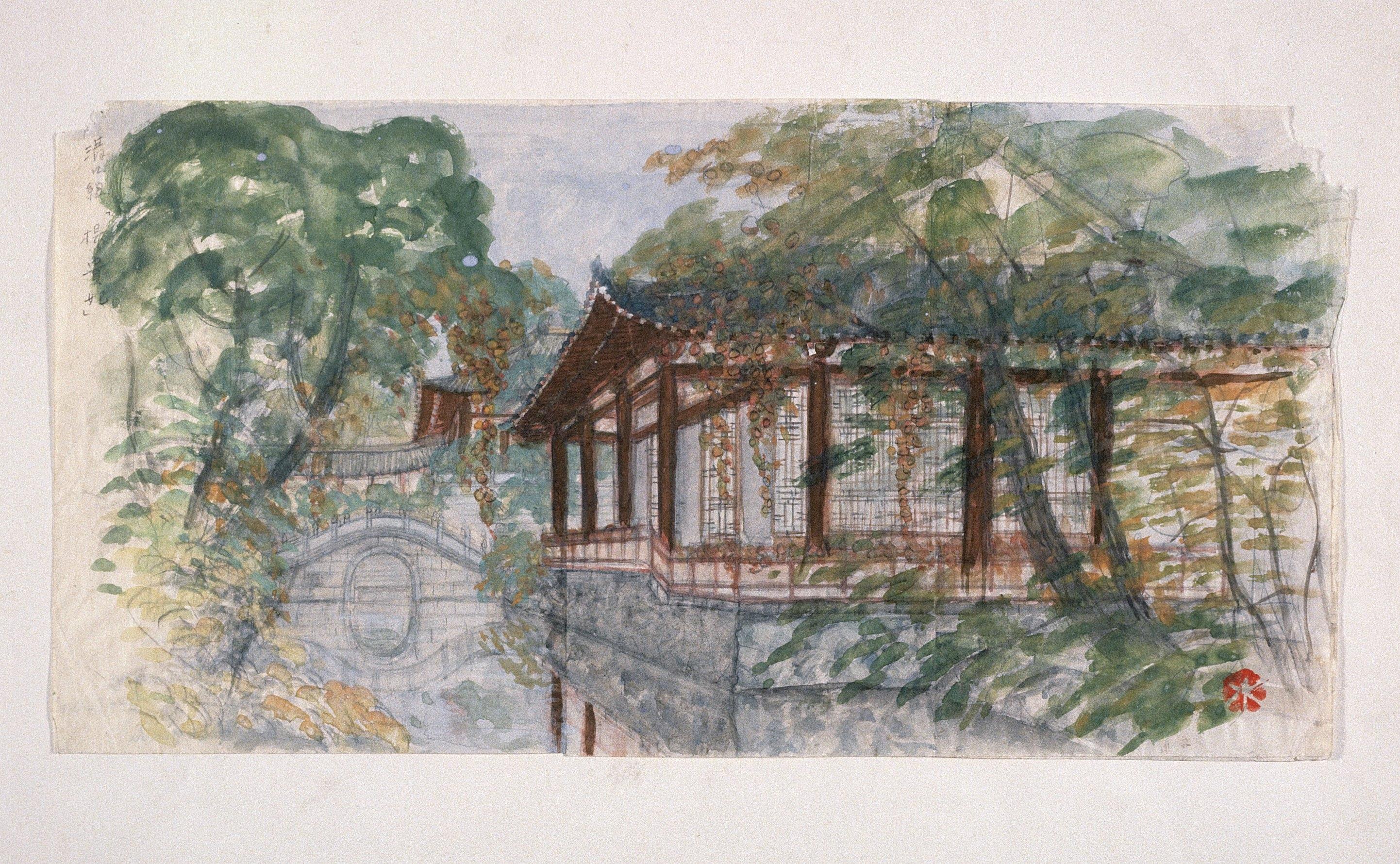 Le pont qui mène au pavillon © Mizutani