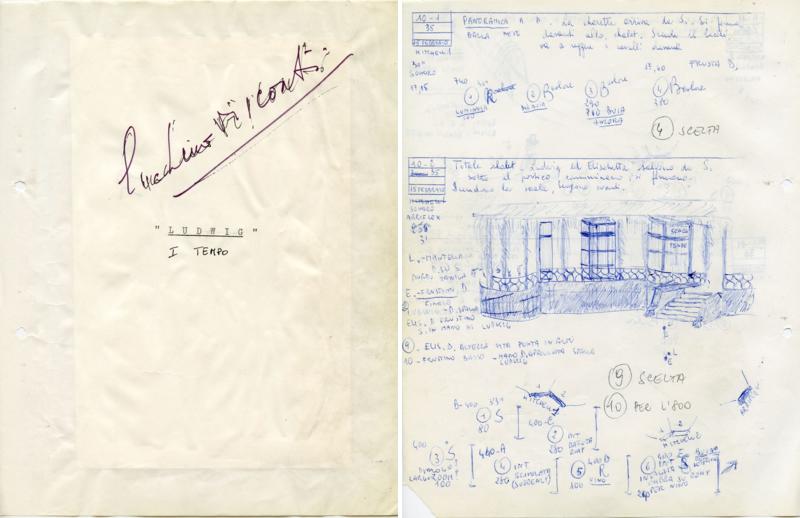 Première page du scénario de tournage de Renata Franceschi  signé par Visconti (à gauche) / Le document indique le numéro de séquence et la description de la scène, le dialogue, le lieu,  les mouvements de caméra, le placement des personnages, le type de lumière (à droite).