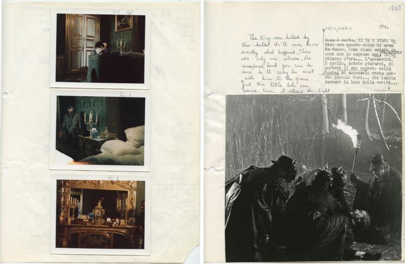 Polaroids de tournage (à gauche) / Dernière page du scénario de tournage, séquence de la mort du roi (à droite).