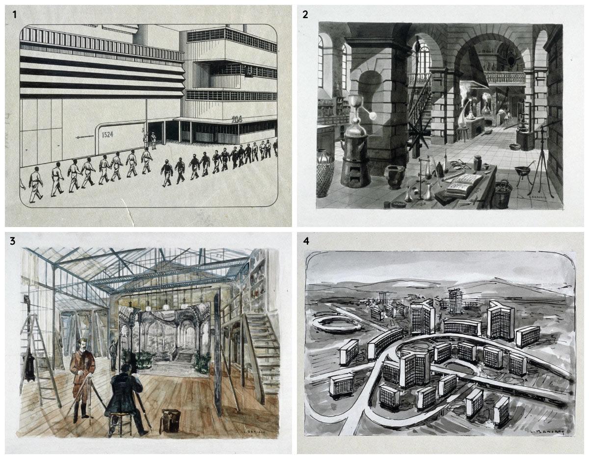 Maquettes de dessins de Léon Barsacq pour René Clair