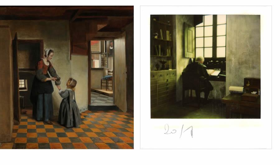 Pieter De Hooch : Femme avec enfant dans un garde-manger, 1658 (Rijksmuseum) / Photographie de tournage : homme à la fenêtre (Fonds Suzanne Durrenberger)