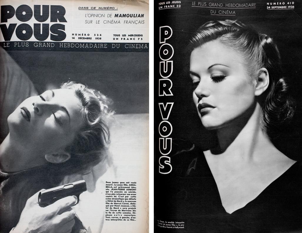 Annabella dans Pour vous n°526 (14 décembre 1938) / Simone Simon dans Pour Vous n°410 (24 septembre 1936)