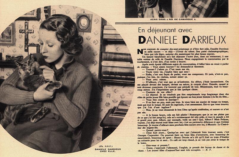 Pour Vous n° 311 (1er janvier 1934) «En déjeunant avec Danielle Darrieux»
