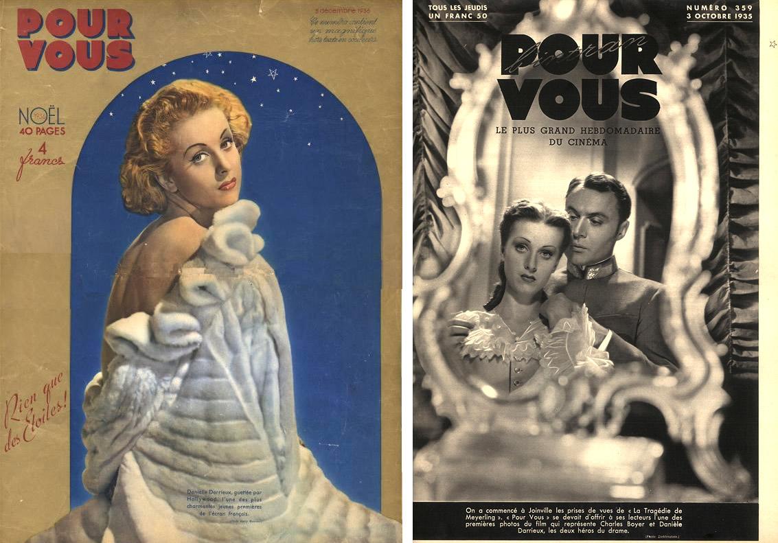 """Pour Vous n°420 (spécial Noël 1936) / Pour Vous n°359 (3 octobre 1935) Danielle Darrieux et Charles Boyer pour """"Mayerling"""" d'Anatole Litvak"""