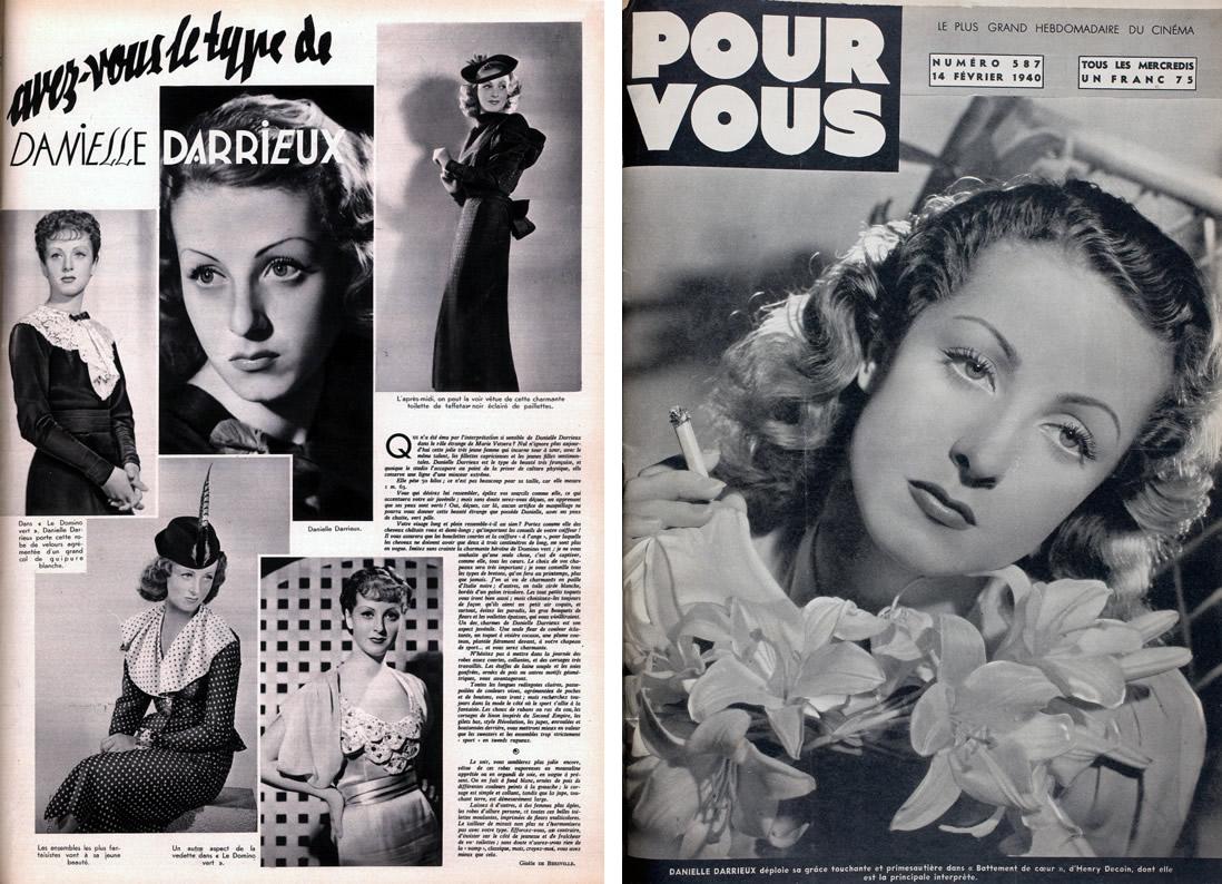 """Pour Vous n°382 (12 mars 1936) """"Avez-vous le type Danielle Darrieux"""" (article de Gisèle de Biezville) / Pour Vous n°587 (14 févier 1940) dans """"Battement de cœur"""" d'Henri Decoin"""