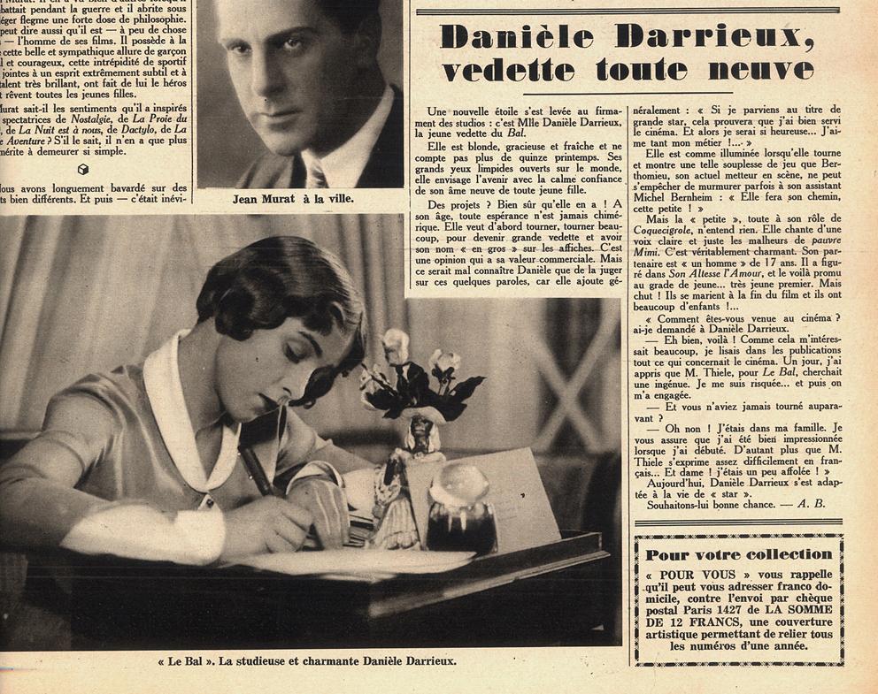 """Pour Vous n°150 (1er octobre 1931) """"Danièle Darrieux, vedette toute neuve"""" dans """"Le bal"""" de Wilhelm Thiele"""