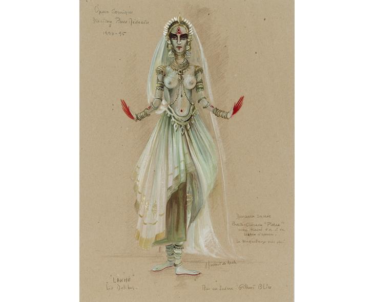 Projet «Lakmé», Opéra comique. Crayon de couleur, gouache, mine de graphite. © ADAGP