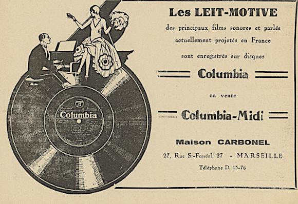 Publicité locale pour Columbia-Midi; dans La Revue l'écran n°44 (Noël 1930)