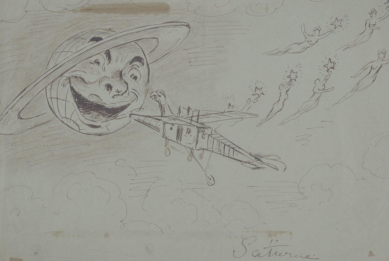 Saturne (Dessin de Méliès pour À la conquête du Pôle, 1912)