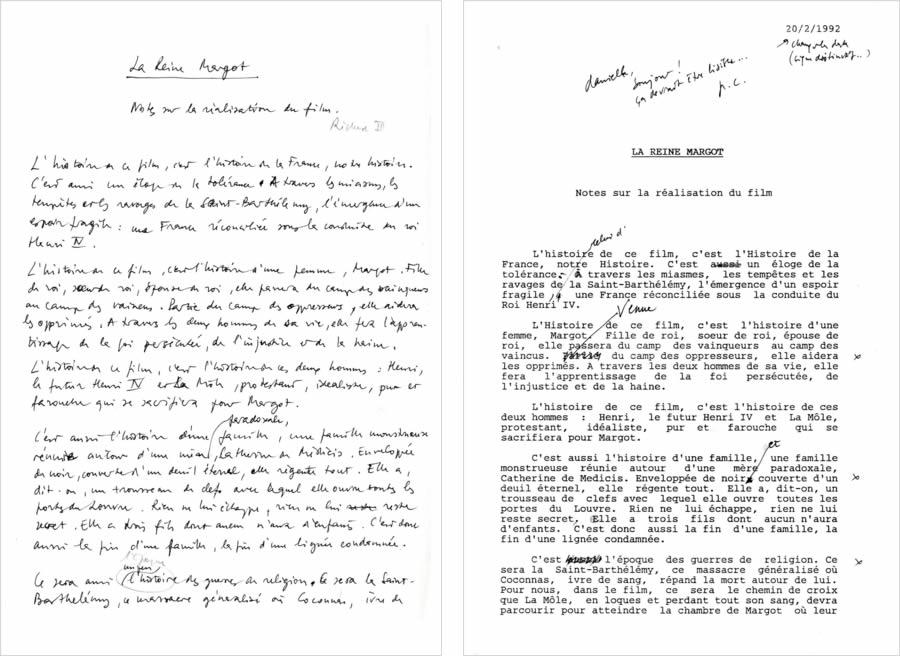 Versions manuscrite et dactylographiée de la note d'intention pour La Reine Margot
